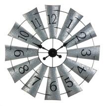 "Windmill Shaped Wall Clock Galvanized Metal Industrial Style 33"" Diameter - $95.95"