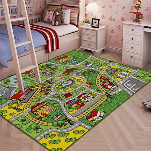 City Street Roads Kids Fun Car Play Rug 100x150cm Non: JACKSON Kid Rug Carpet Playmat For Toy Cars And Train,Huge