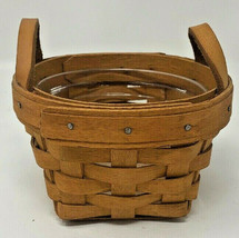 Longaberger 1995 Mini Thyme Booking Basket with 2 leather handles (19-1670) - $18.04