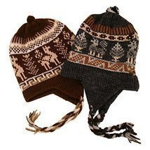 #2995Chullo Peru Ski Hat Alpaca Wool Winter Hand Knit Beanie Mountain Fa... - $11.83