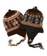 #2995Chullo Peru Ski Hat Alpaca Wool Winter Hand Knit Beanie Mountain Fa... - $220,24 MXN