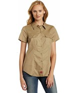 Dickies Ladies Work Shirt, Navy and Tan Options - $23.00