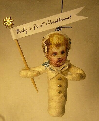 Vintage Inspired Spun Cotton Ornament Baby's First Christmas!  No.100G