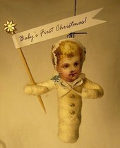 Vintage Inspired Spun Cotton Ornament Baby's First Christmas!  No.100G image 1