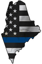 Thin Blue Line Police State of Maine Laser CutOut Metal Sign 17Wx16H. - $25.74