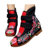 Flowers Vintage Beijing Cloth Shoes Embroidered Boots black 35 - $37.99