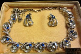 Gorgeous Vintage Coro Blue Rhinestone Necklace And Matching Earrings - Box - $56.95