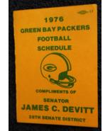 1976 Green Bay Packers Football Schedule - Compliments Senator James C. ... - $12.95