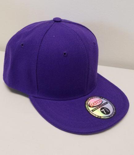 PURPLE HATCO THE ORIGINAL Flat Rimmed HEADWEAR SIZE 7 5/8 Fitted Cap Hat NEW
