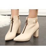 woman elegant block heeled booties w double zippers, size 4-8.5, beige - $68.80