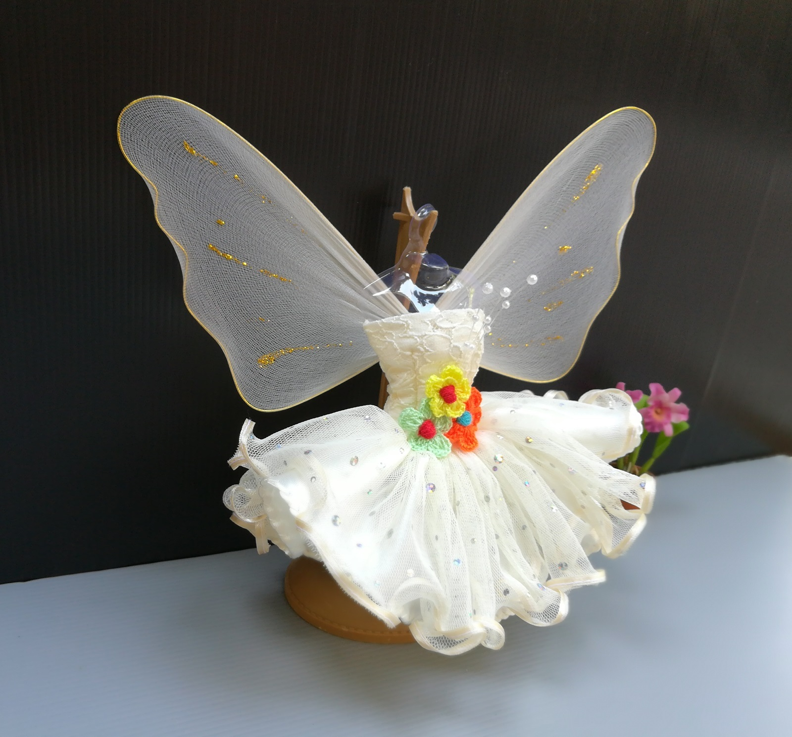 Fairy Butterfly Angel Outfit Handmade Costumes for Barbie Dolls Clothing Pink