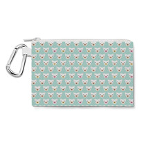 Geometric Bears on Mint Canvas Zip Pouch - $15.99+