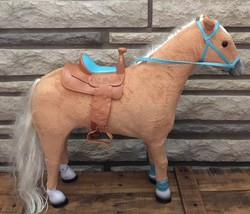 "18"" Palomino Horse Set Blonde Hair Pony W Saddle My Life Fits American Girl Doll - $37.40"