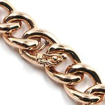 18K ROSE GOLD BRACELET ONDULATE ROUNDED GOURMETTE CUBAN CURB LINKS 9.5 mm, 18cm image 4