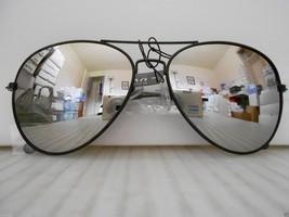 Aviator Mirrored Sunglasses Large Silver Mirror Lenses Black Frame COP - $8.99
