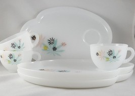 3 Federal Milk Glass Plates Tea/Snack Plates and Cups Mid Century Atomic... - $16.82