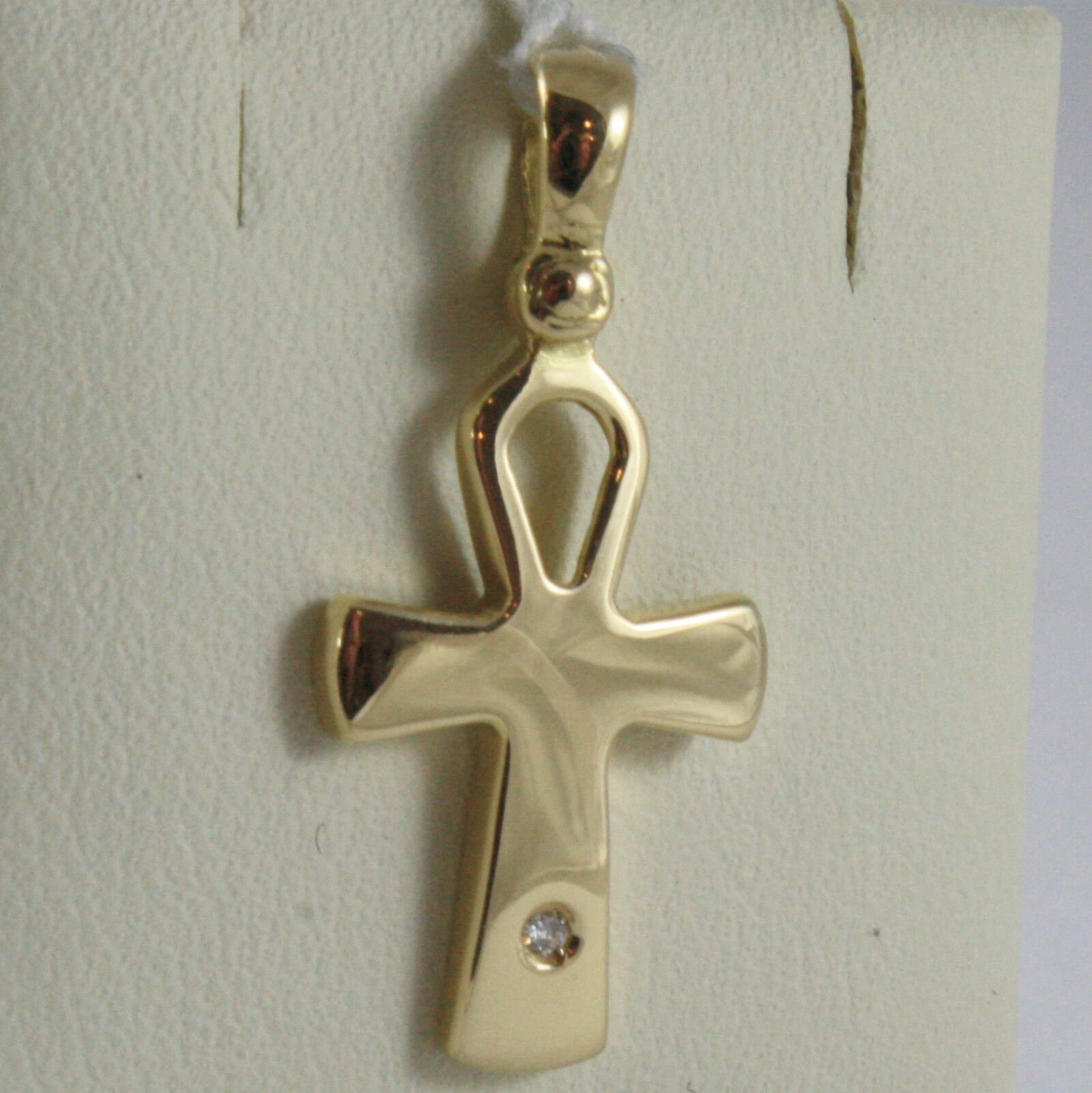 SOLID 18K YELLOW GOLD CROSS, CROSS OF LIFE, ANKH, DIAMOND, 1.02 IN MADE IN ITALY