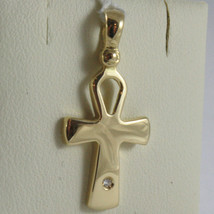 SOLID 18K YELLOW GOLD CROSS, CROSS OF LIFE, ANKH, DIAMOND, 1.02 IN MADE IN ITALY image 1