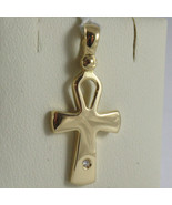 SOLID 18K YELLOW GOLD CROSS, CROSS OF LIFE, ANKH, DIAMOND, 1.02 IN MADE ... - £190.08 GBP