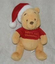 Disney Winnie the Pooh Bear Rattle Baby's First Christmas plush santa hat - $24.74