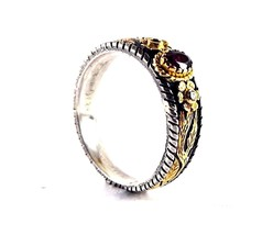 14K Gold &  925 Sterling Silver Natural Ruby & Diamond Vintage Look New  Ring - $356.40