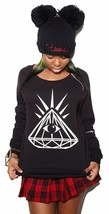 Yours Truly Diamond Eye Women's Shoulder Zipper Black Crew Neck Sweater NWT