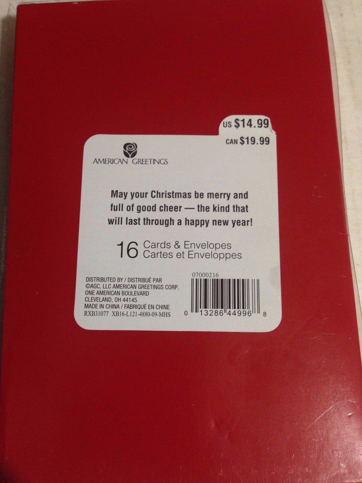 American greetings christmas card 12 listings american greetings 16 christmas cards and envelopes holiday santa glitters 5x7 769 m4hsunfo
