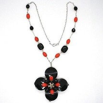 Necklace Silver 925, Agate Disco Faceted, Onyx, Coral, Flower Pendant image 2