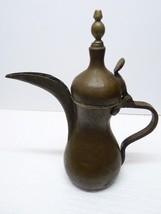 Antique 19C Islamic Brass Bedouin Dallah Coffee Pot, Arabic Calligr. Sea... - $123.28