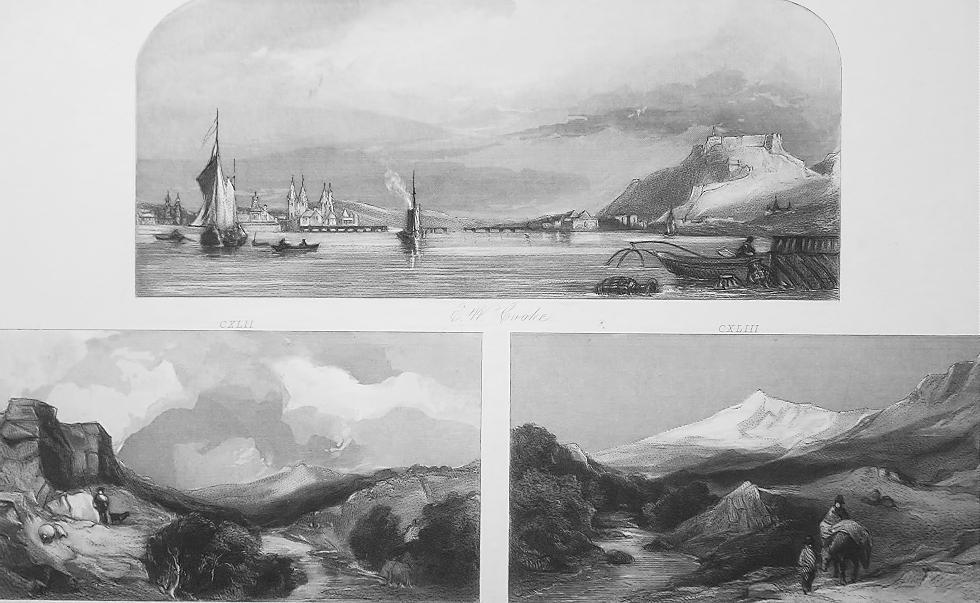 1847 Print Multiple Views - Koblenz Germany, Yorkshire, N. Wales, Richmond Hill