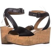 Coach Becka Platform Ankle Strap Sandals 853, Black, 9.5 US / 39.5 EU - $30.71