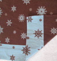 Standard Pillowcase SNOWFLAKES Aqua Blue Brown Flannel, Single Pillowcas... - £9.42 GBP