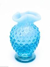Vintage Fenton Hobnail Blue Opalescent Glass Vase Depression Glass - $26.39