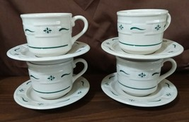 Longaberger Pottery Woven Traditions CUPS & SAUCERS Classic Green - Set ... - $19.95