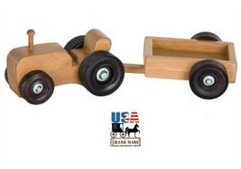 FARM TRACTOR with GARDEN CART - Amish Handmade Farming Wood Montessori T... - $39.17