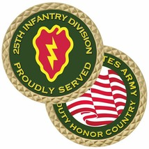 "ARMY 25TH INFANTRY DIVISION PROUDLY SERVED 1.75"" CHALLENGE COIN MADE IN USA - $17.14"