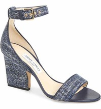 JIMMY CHOO Edina Metallic Tweed Sandals sz 40 New $695 - $241.69