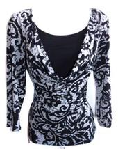 Briggs New York  NWOT  Size S Castle Gray/Black Draped Fluid Knit Top - $9.49