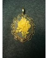 Vintage Rose Flower Camio Womens Necklace Pendant Blue Gray Cream White ... - $9.40