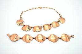 Pcraft Genuine Copper Modernist Leaf Clip Necklace Bracelet Set - $34.64