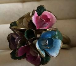 Rare Austria Signed Vintage 1950's Enamel Flower Adjustable Size Ring   ... - $23.47