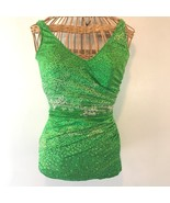 Vintage 1960s Cole of California Green Leaves One Piece Swimsuit size 12... - $39.95
