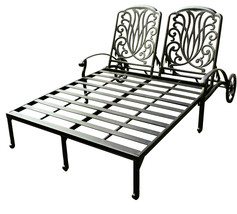 Outdoor chaise lounge with wheels patio end tabel cast alumnum furniture Bronze image 2