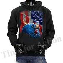 USA Flag With Eagle Shadow American Pride Graphic Fleece Pullover Hoodie - $24.74+