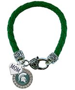 Holly Road Michigan State Crystal Green Leather Bracelet with MOM Charm ... - $16.82