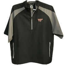 FootJoy Men's Golf Pullover 1/2 Zip Black Short Sleeve Jacket L VT Virginia Tech - $21.73