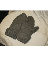 Handmade Recycled Wool Fleece Lined Mittens Forest Green Ladies/Teens Si... - $14.85