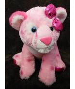 Girlz Nation Pink Leopard Cheetah Plush Stuffed Animal Shiny Bow Feet Gl... - $16.71