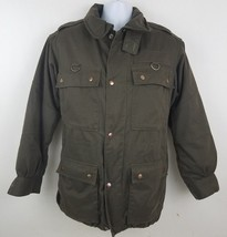 Henri Christian Removable Sherpa Lined Military Style Brown Jacket Sz M - $31.87