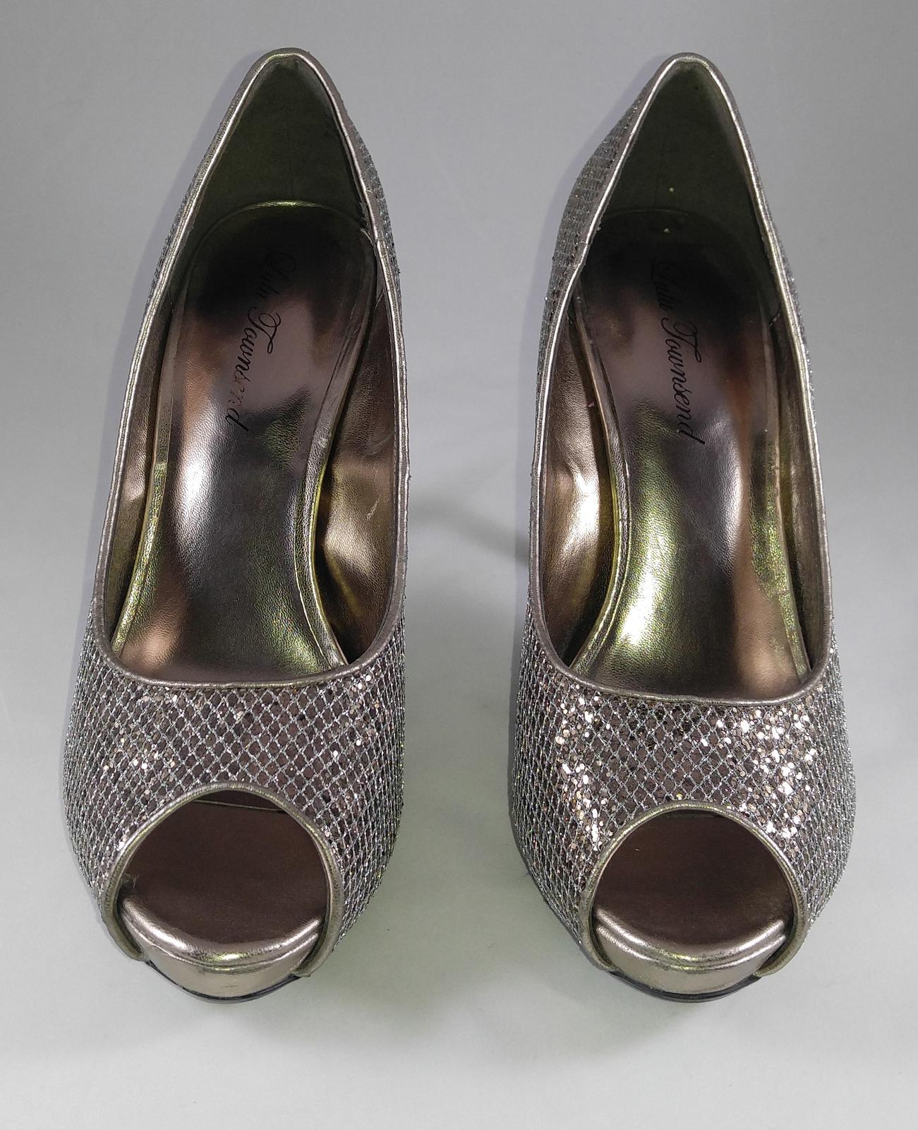 Sparkling Silver Lulu Townsend Stiletto Heels Open Toe Shoes Pumps Size 8.5